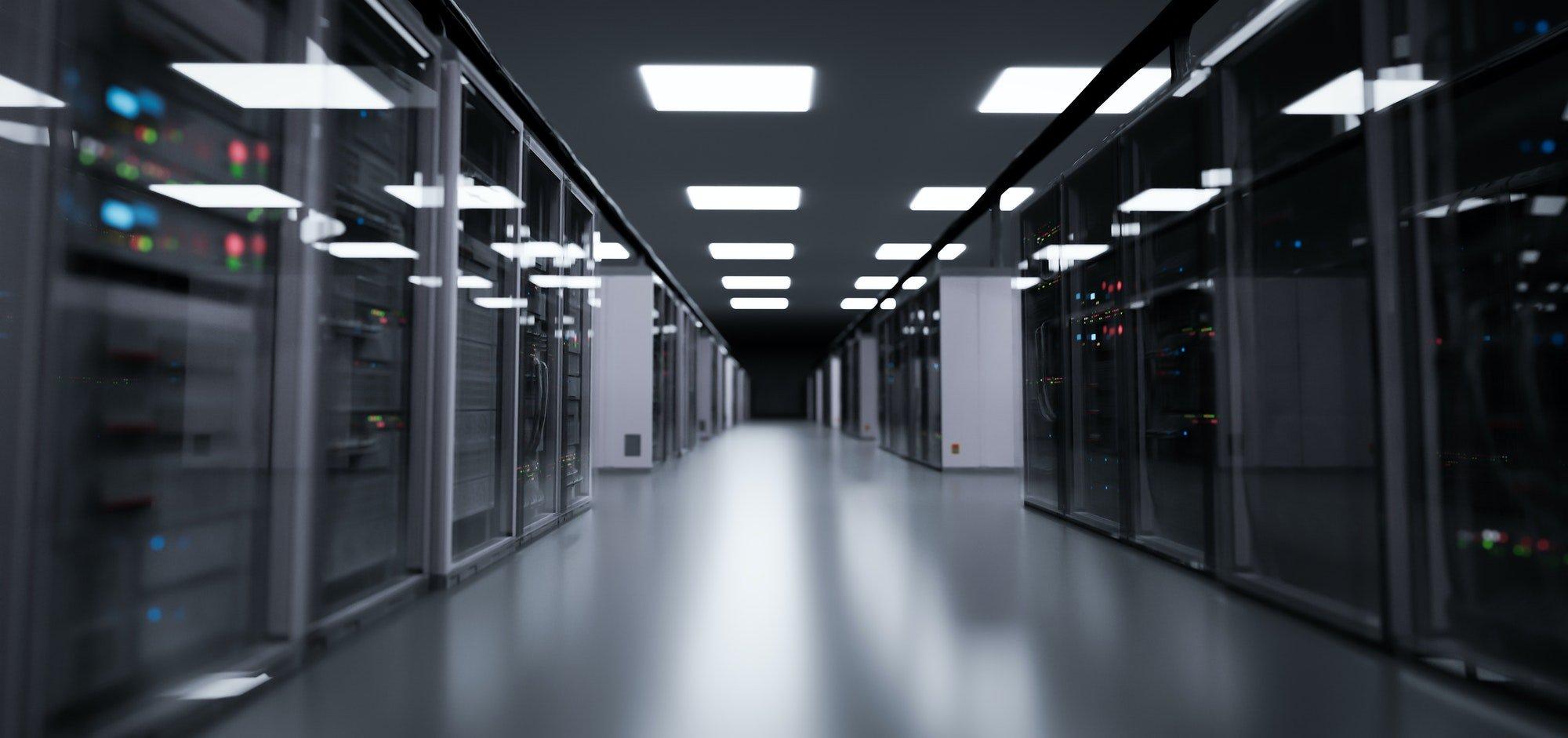 Server room, modern data center.